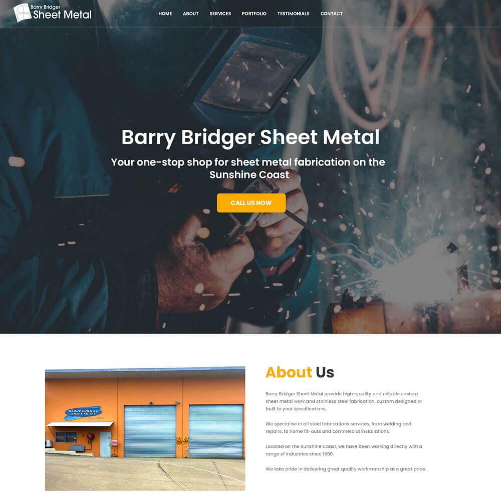A screenshot of the Bridger Sheet Metal website
