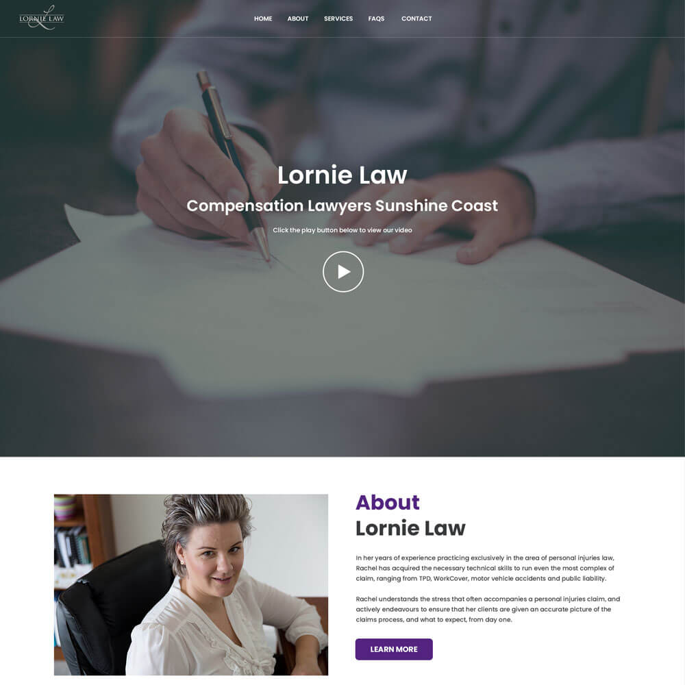 A screenshot of the Lornie Law website
