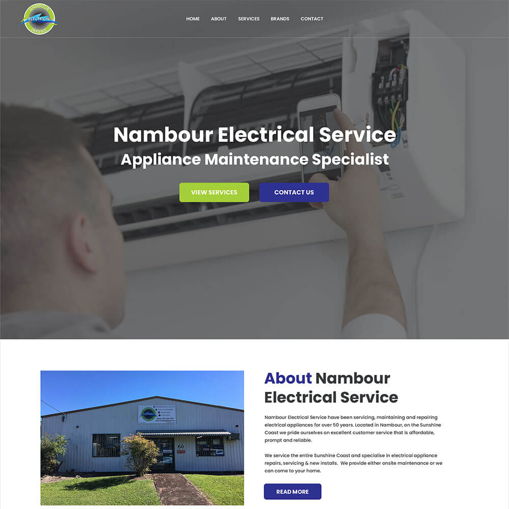 A screenshot of the Nambour Electrical Services website